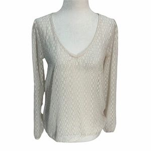 Guess Off White Long Sleeve Blouse V- Neck XS